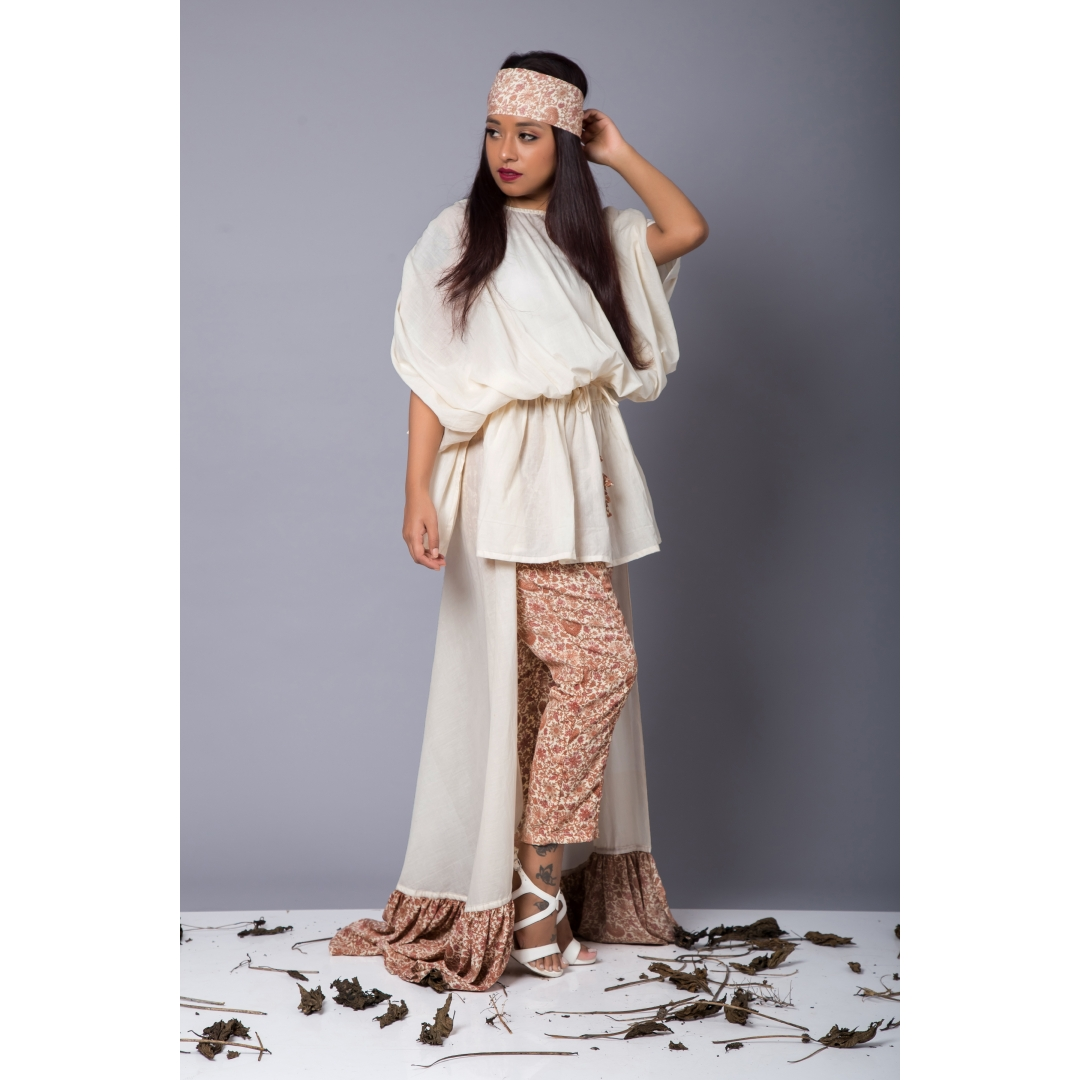 Gathered top and statement trousers