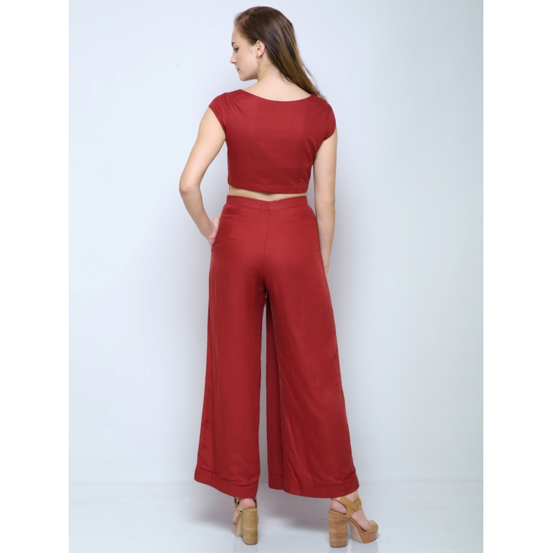 Pleated panelled rust pants