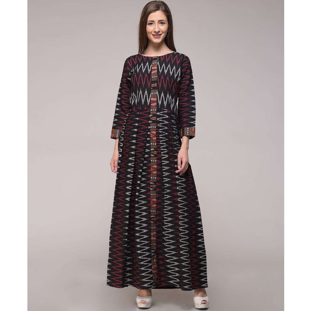 Chevron Ikat Cotton Pleated Dress