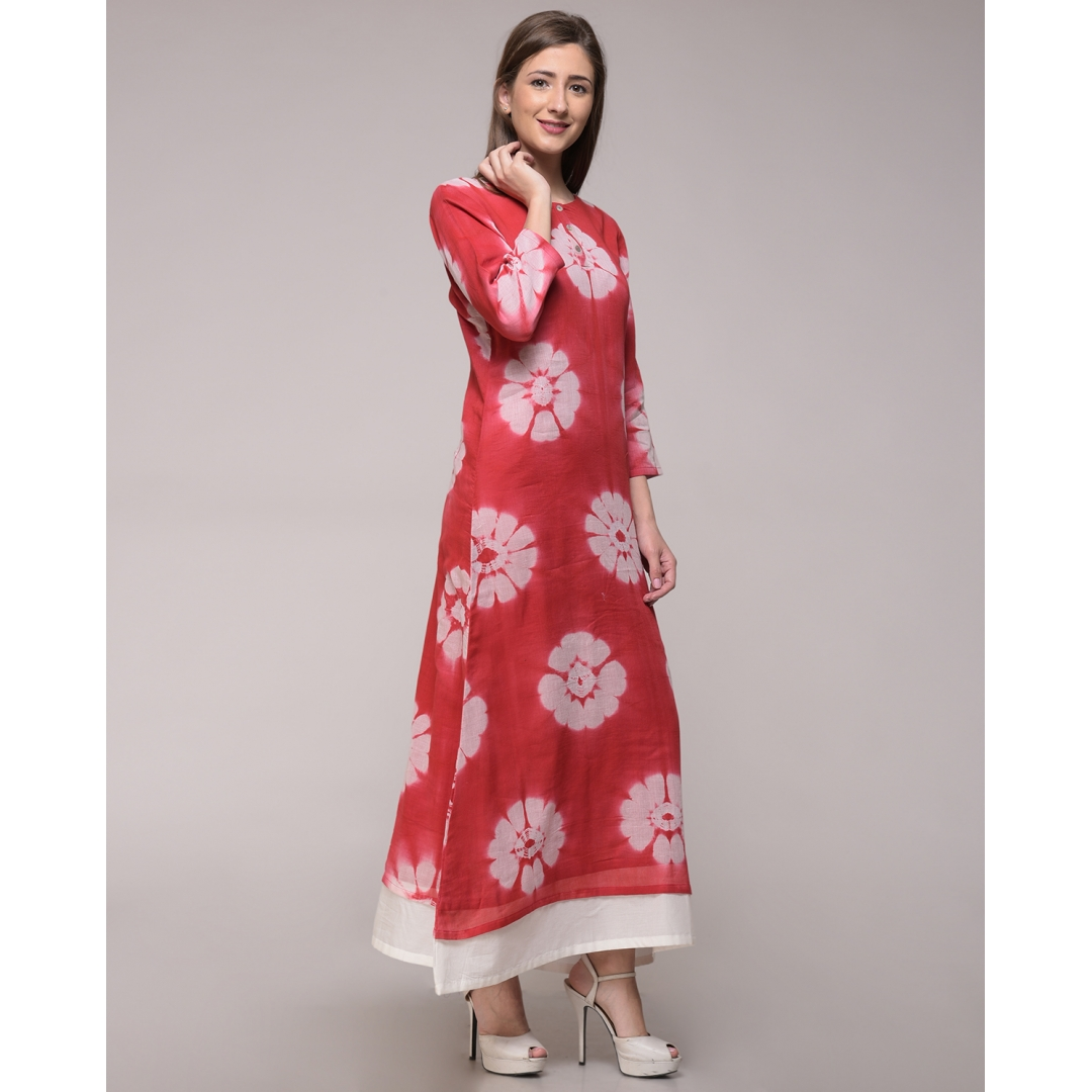 Red Clamp Dyed Floral Cotton Mul Mul Dress