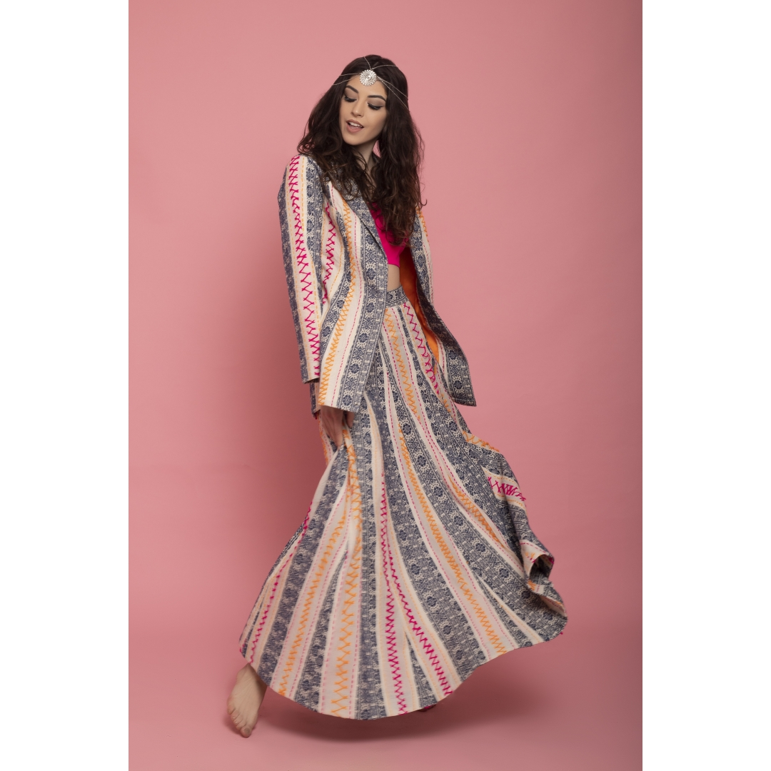 hand embroidered coat and skirt set