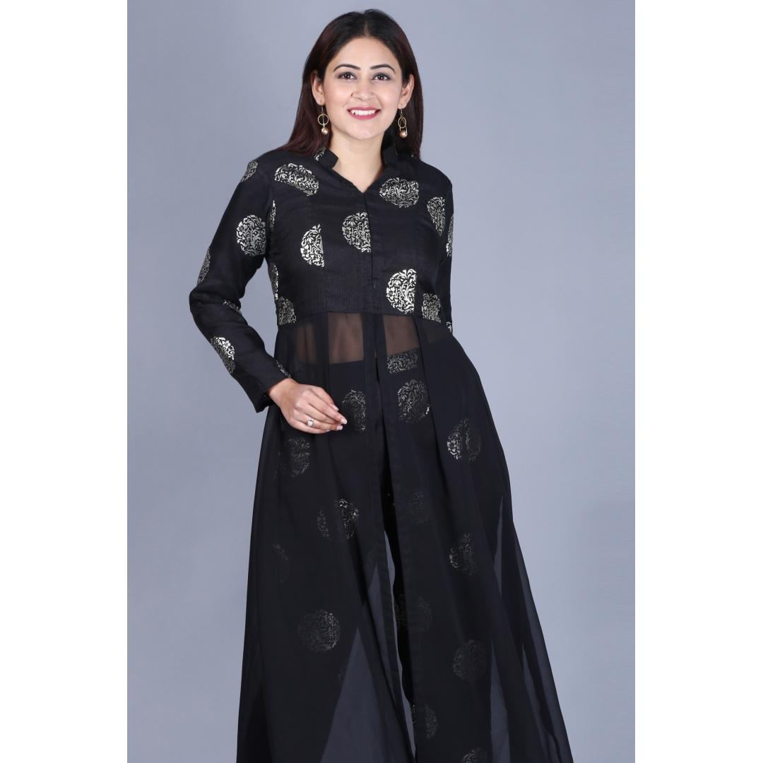 Black Jewel Jacket Style Kurti with Straight Pants