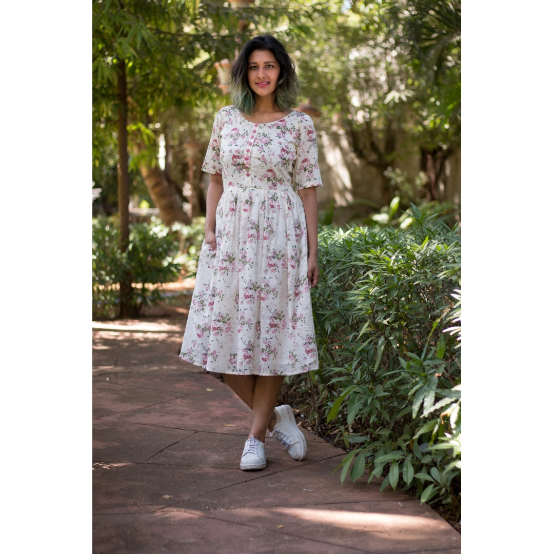 Voile printed dress with ruffles