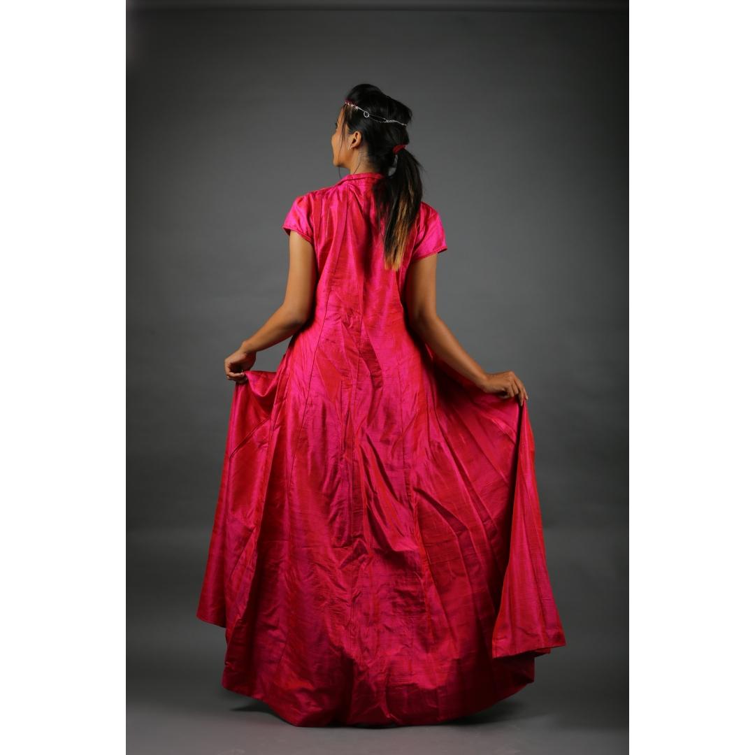 Hot Pink raw Silk Jacket