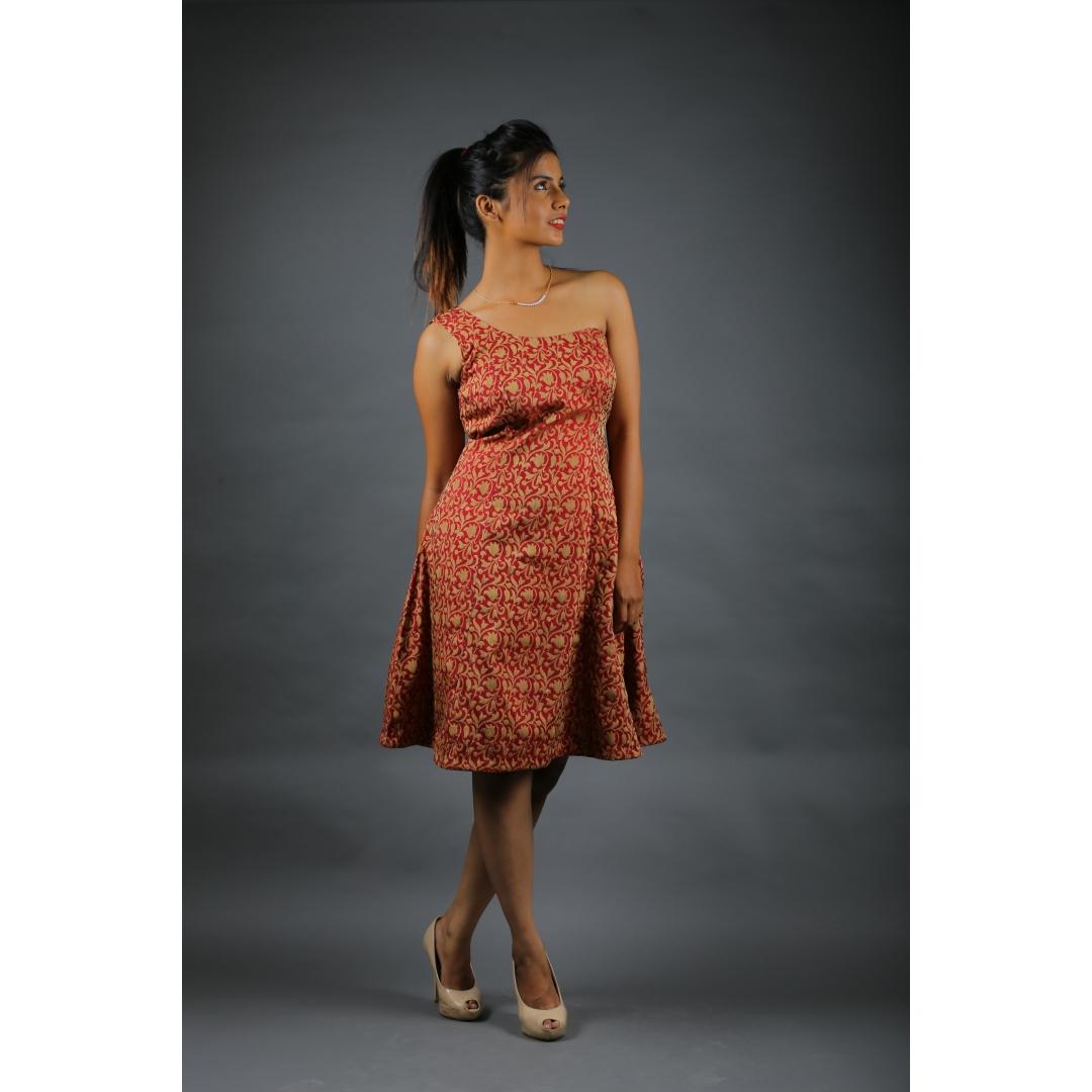 Brocade Silk One Side shoulder Dress