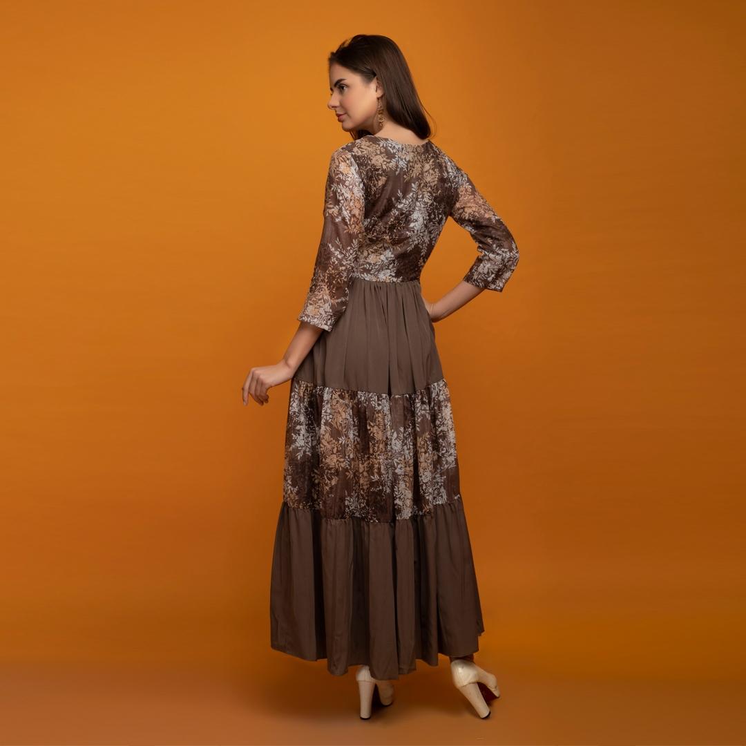 boho flared long dress
