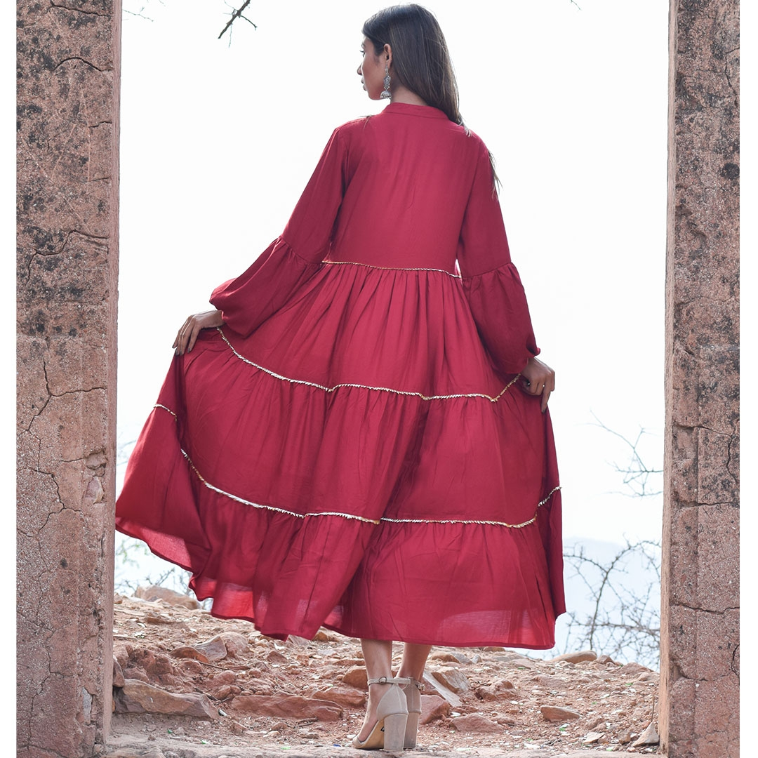 Gher Style Cape with Bijiya Detailings