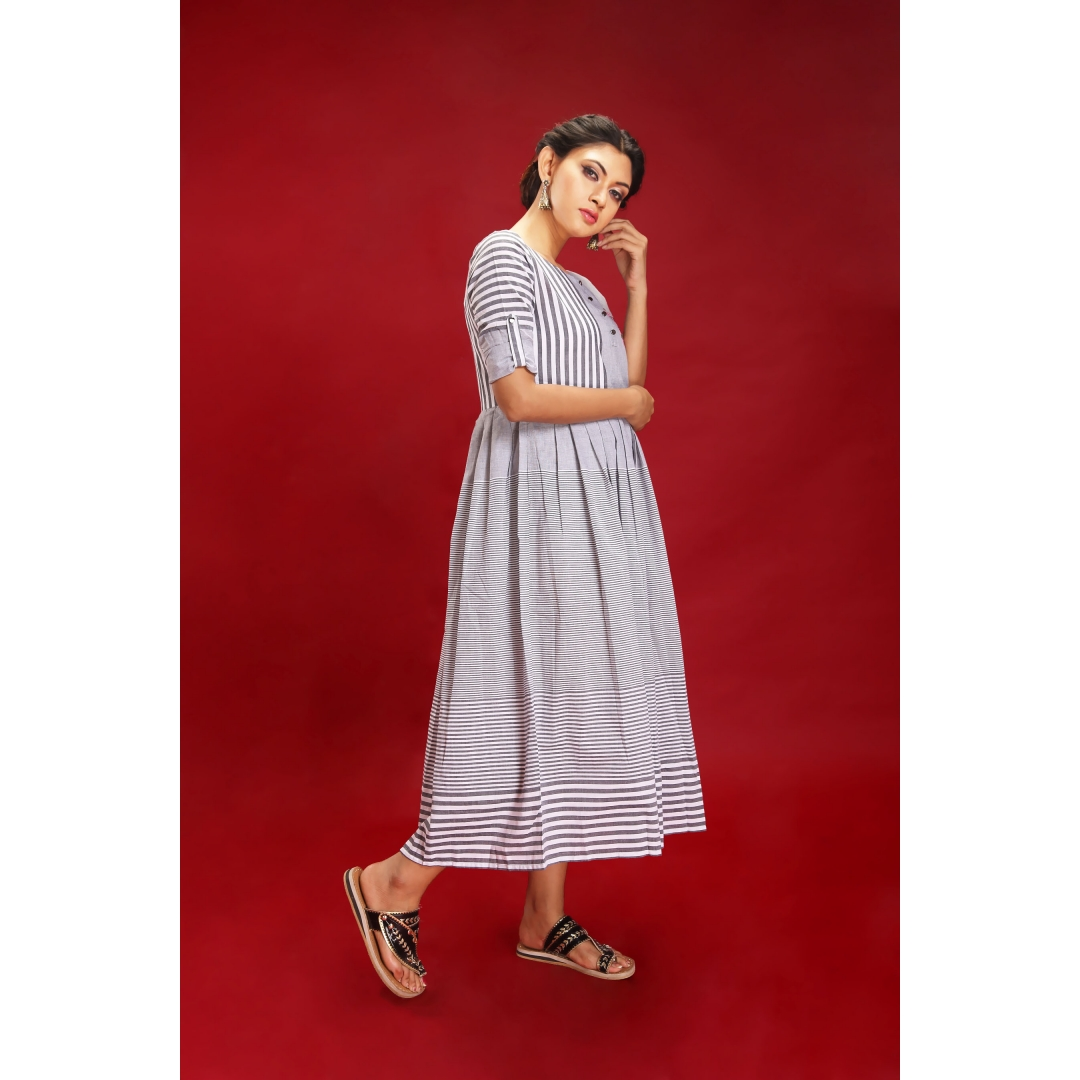 Zar Grey Stripes Maxi