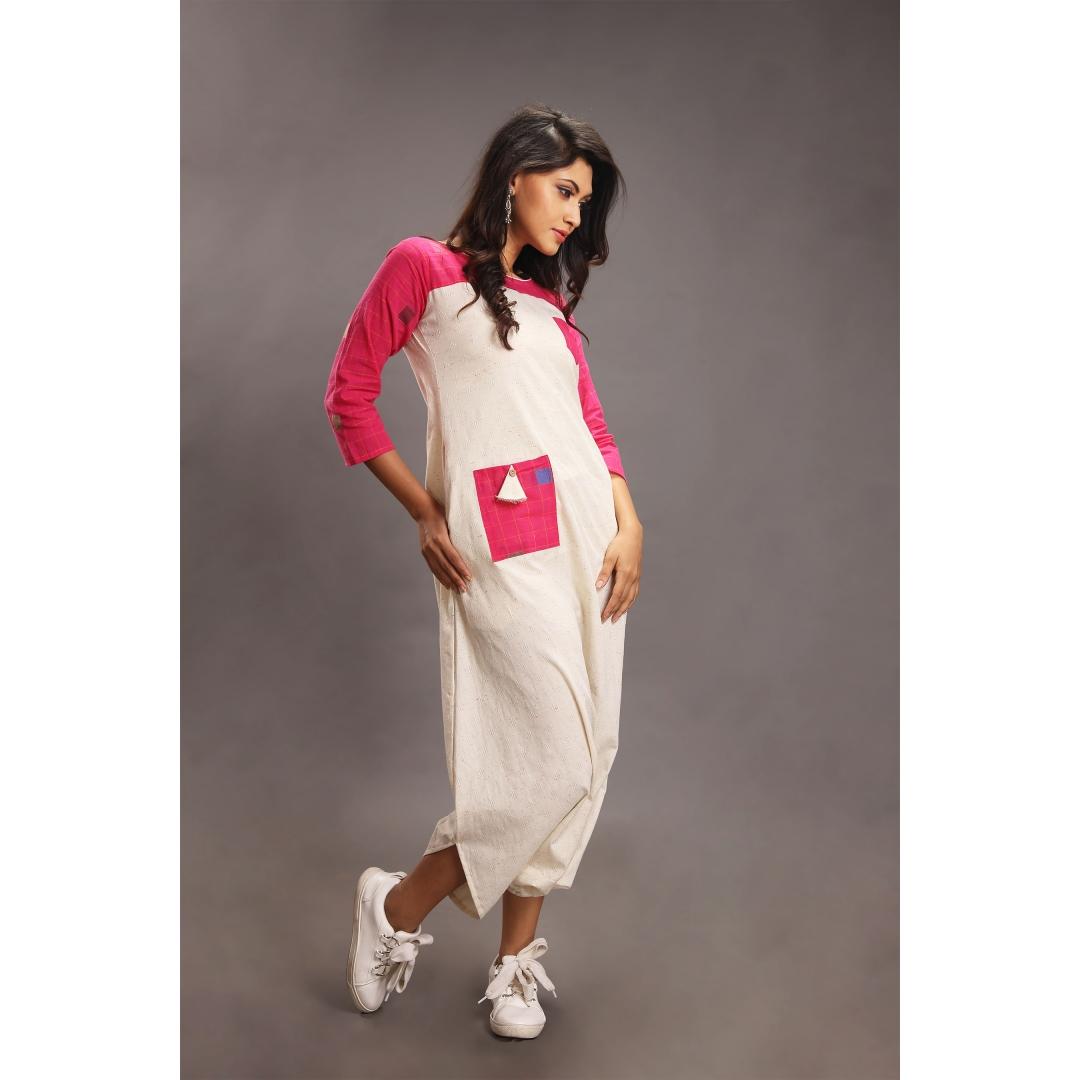 Sifar Pink & White Jumpsuit
