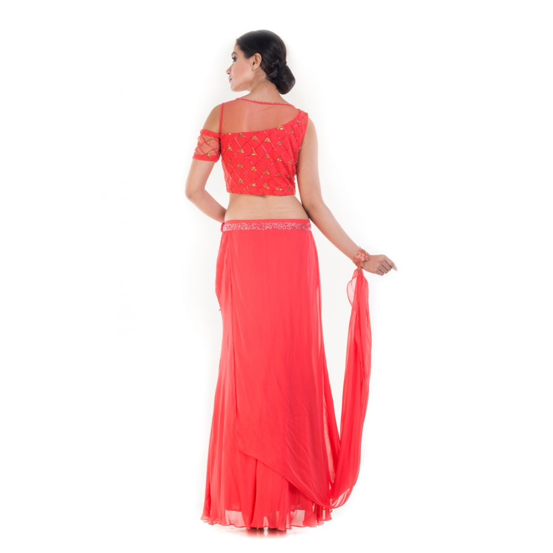 Coral and Gold Embellished Croptop & Skirt Set1