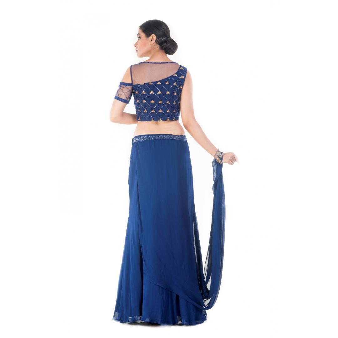Royal Blue and Gold Embellished Croptop & Skirt Set 1