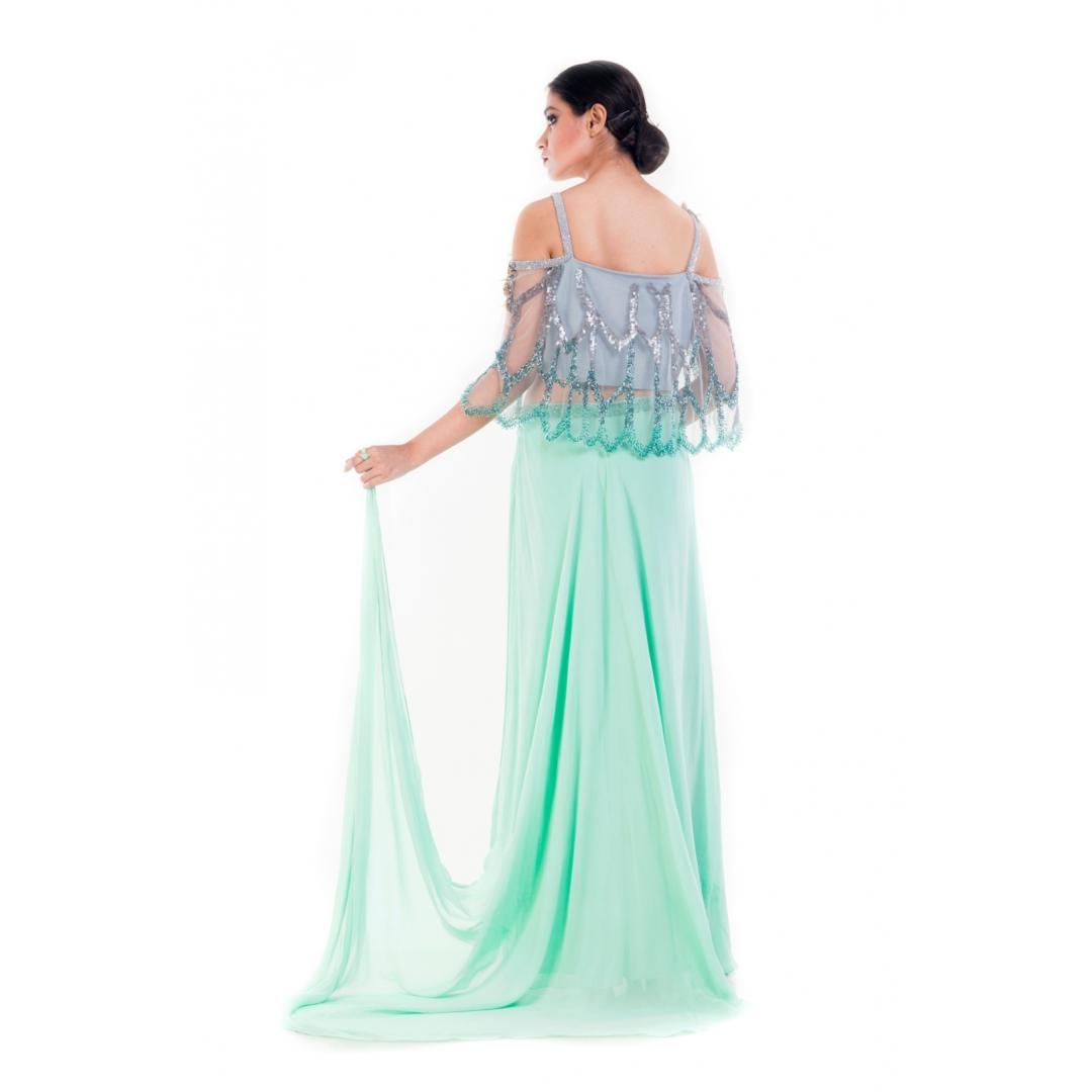 Turquoise Green Embellished Croptop & Layered Pallazo Set1