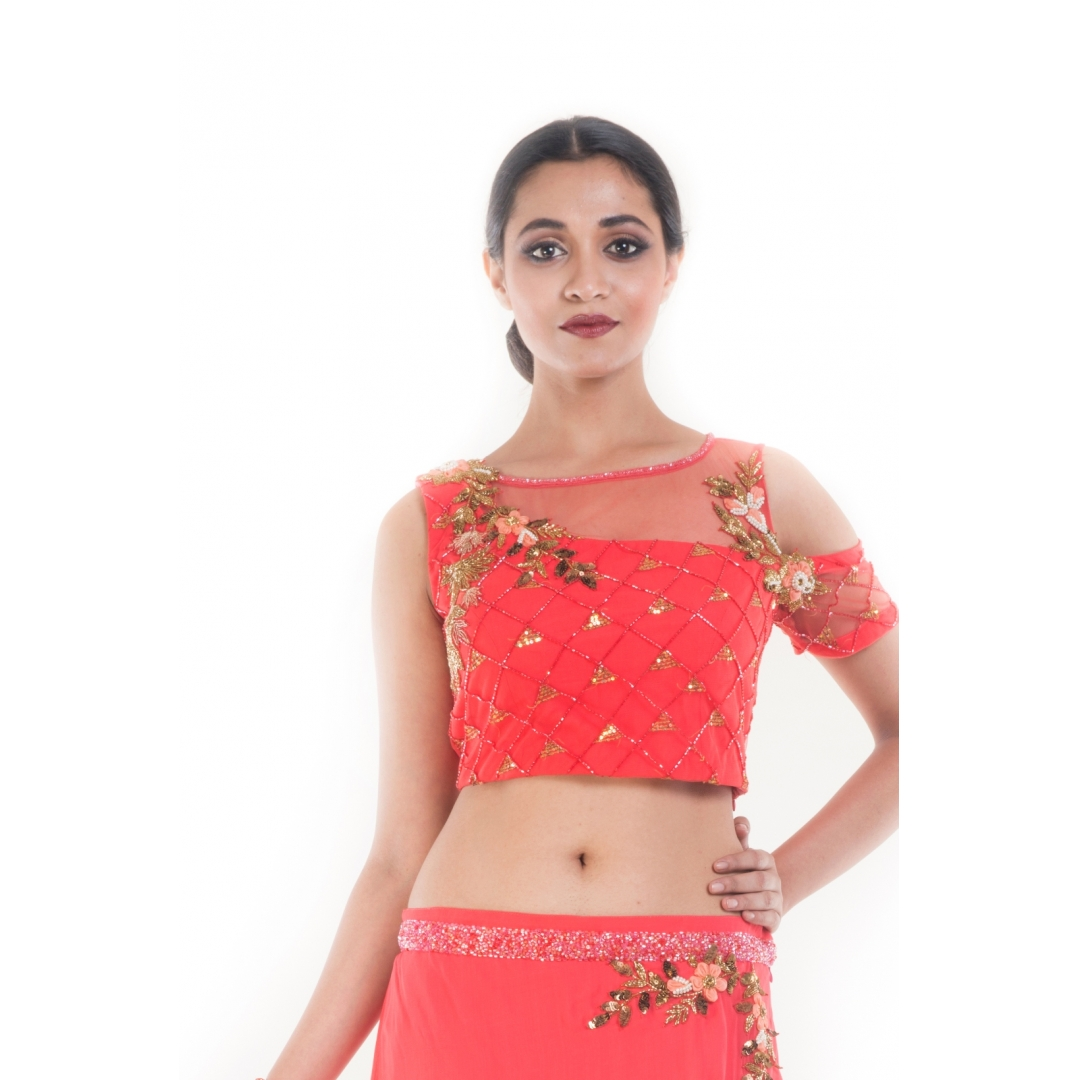 Coral and Gold Embellished Crop-top & Skirt Set