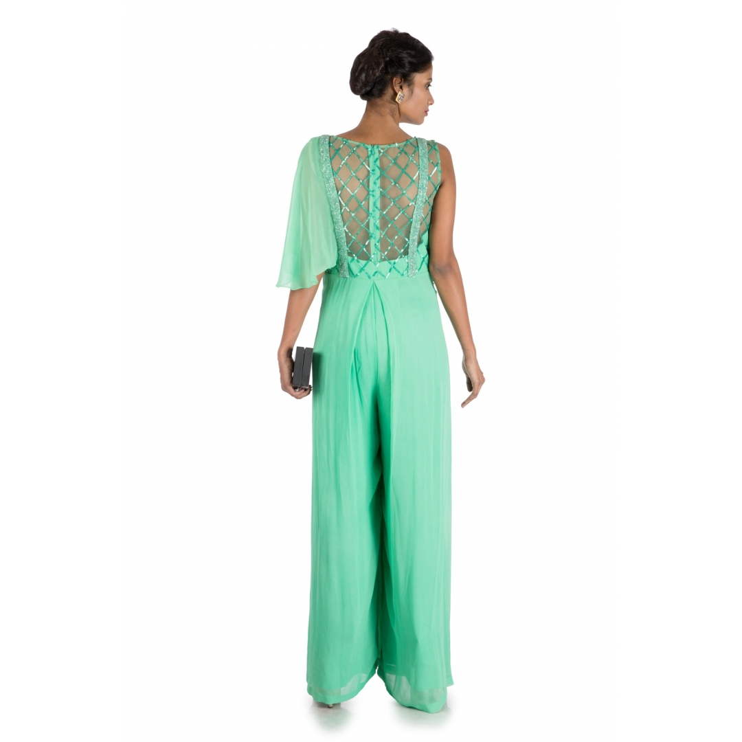 Aqua Green One Side Cape Dungaree Style Jumpsuit