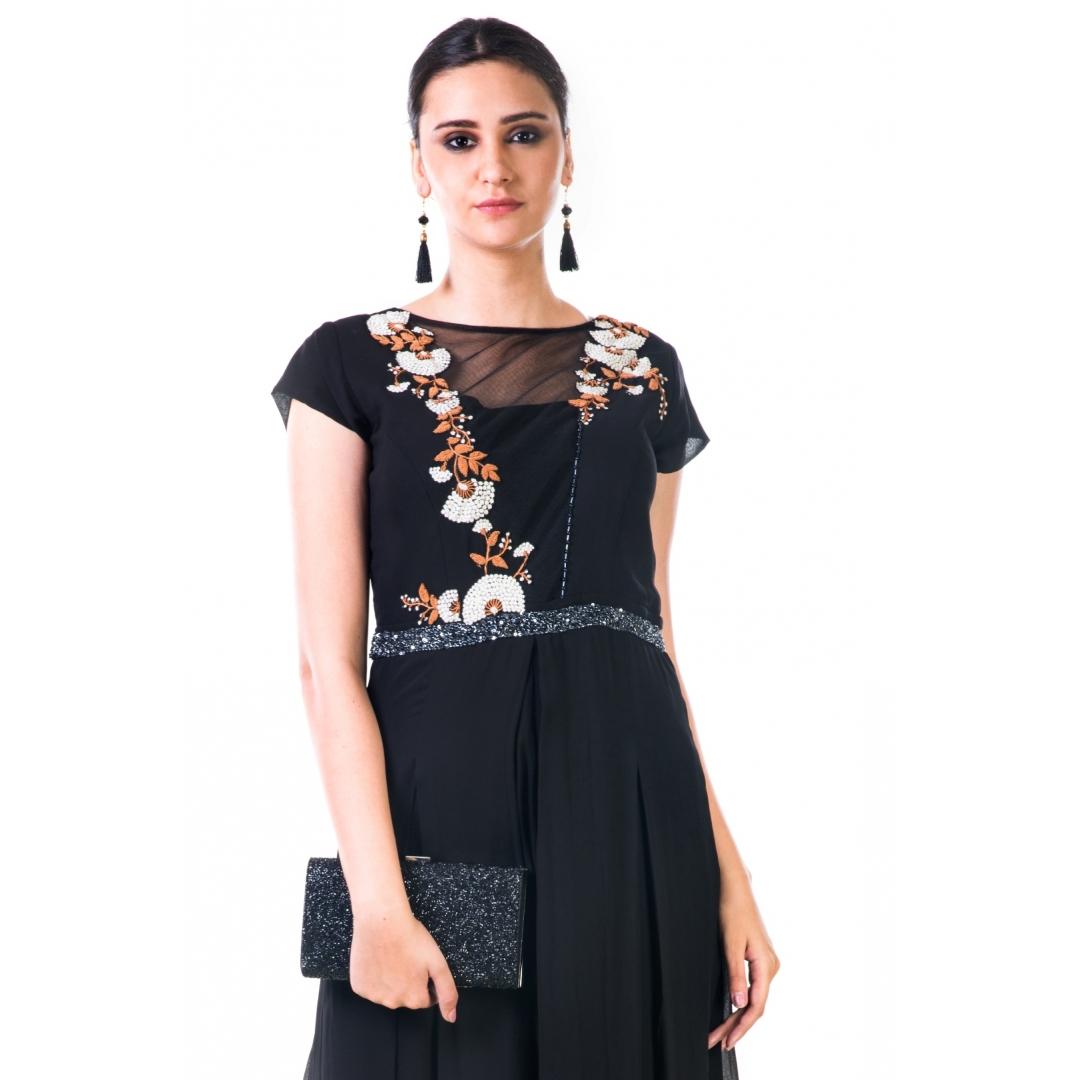 Black Hand Embroidered Box Pleated Jumpsuit