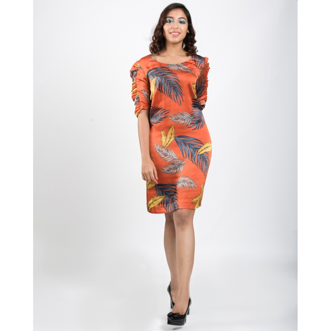 Orange Leaf Print Dress