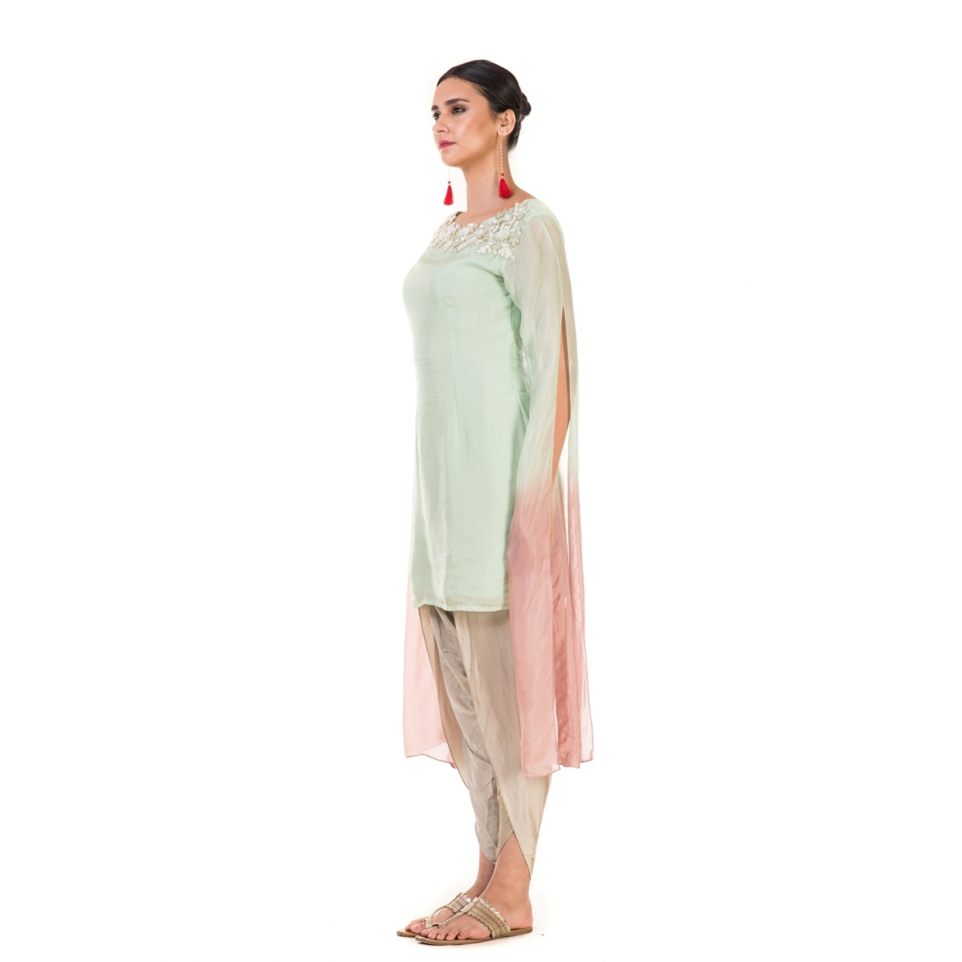 Hand Embroidered Green & Dusty Pink Shaded Long Sleeve Tunic with Dhoti Pants