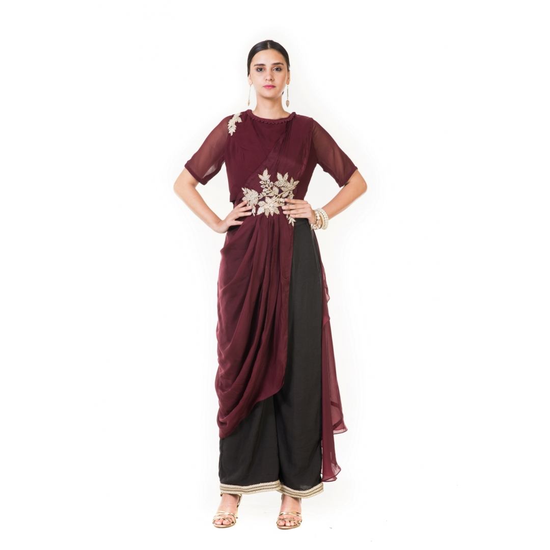 Buy Wine Cord Embroidered Indowestern Draped Top With Palazzo Pants Online At Best Price In India Getnatty