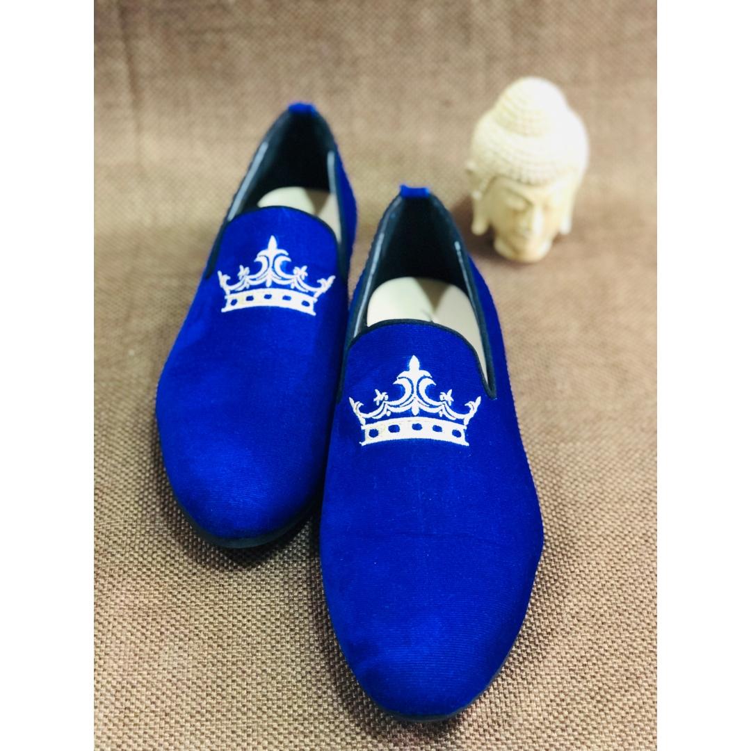 velvet crush edition 1 royal blue crown loafers
