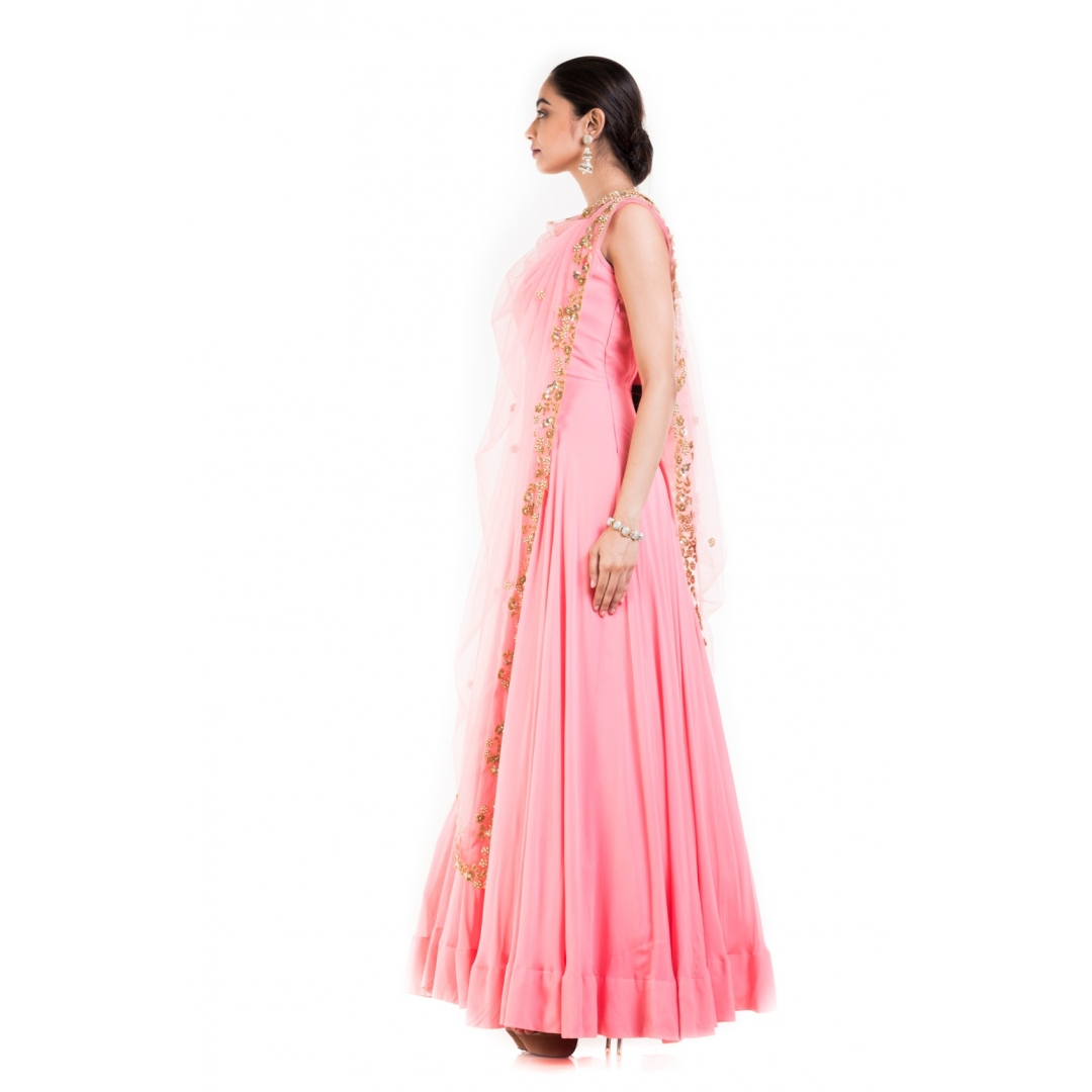 Pink long Suit With Attached Dupatta.