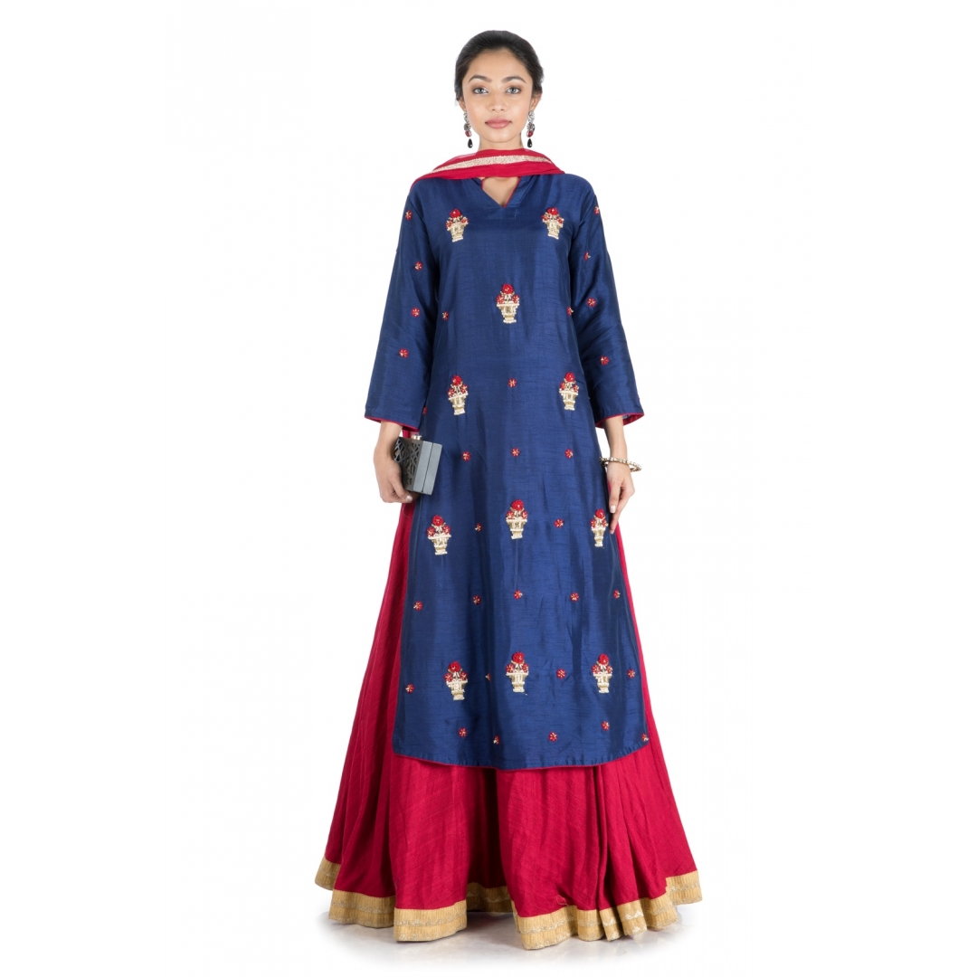 Navy Blue & Maroon Suit Lehenga Set
