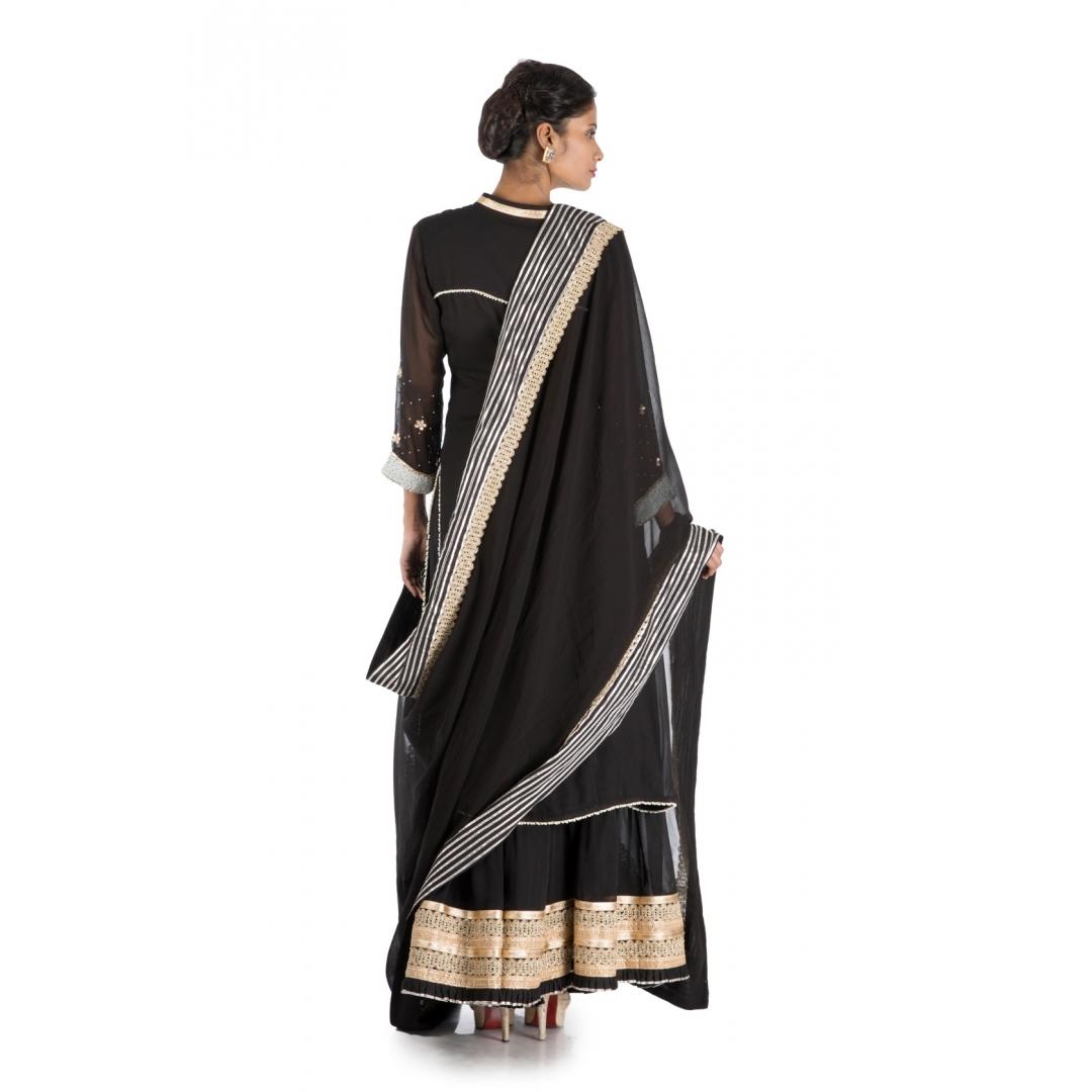 Black Long Suit & Sharara Set