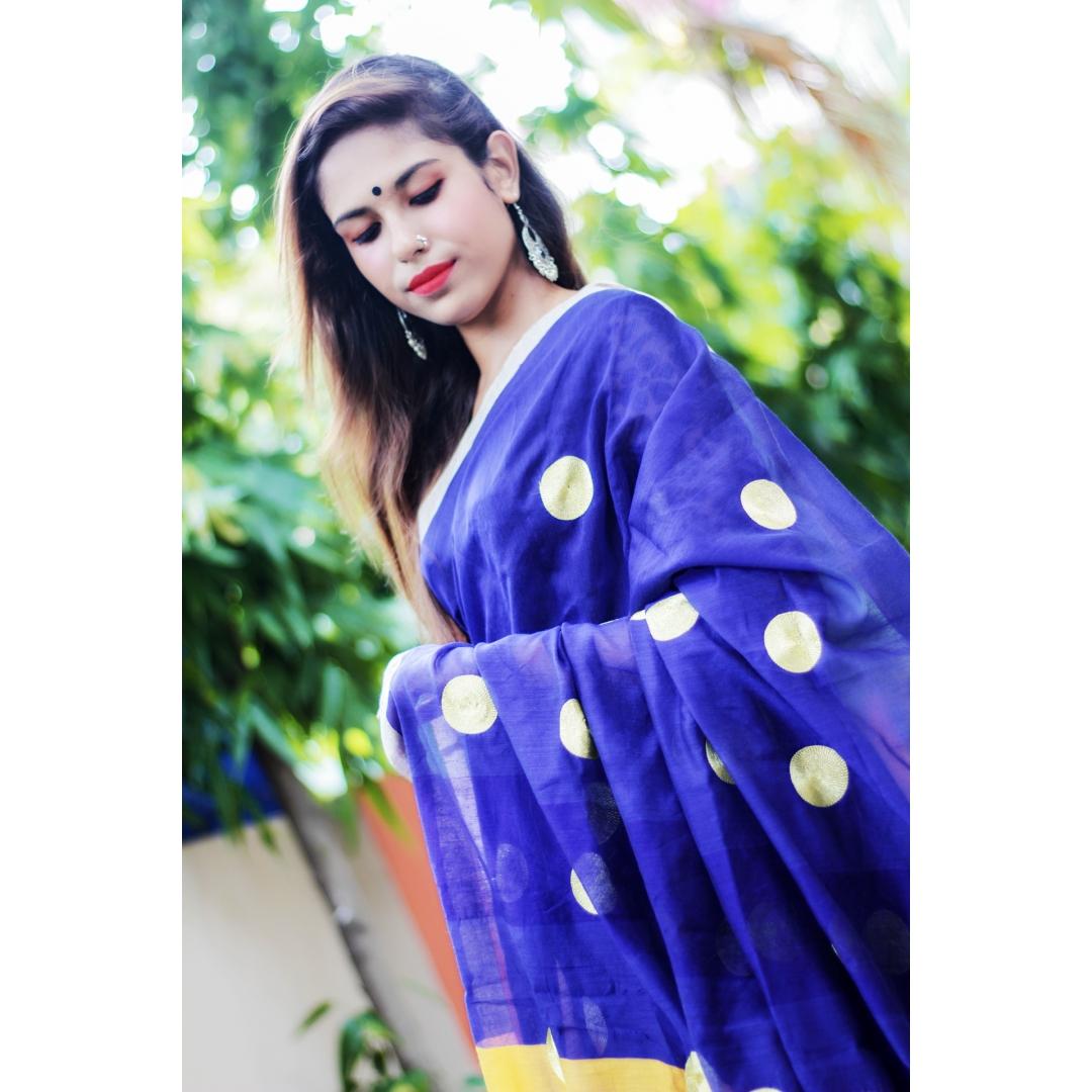 Naomi Embroidered Poise Polished Saree blue