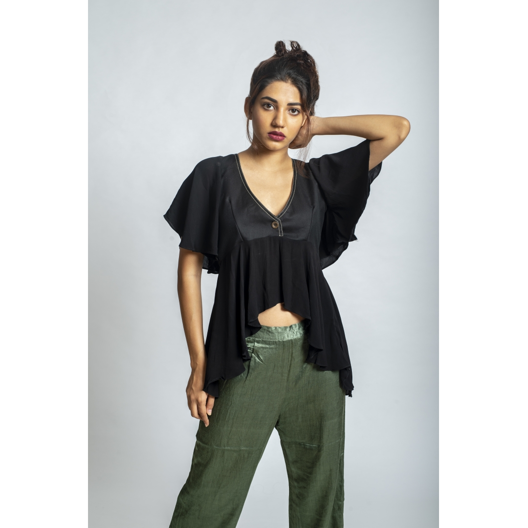 Frilled Hem Black Crop Top