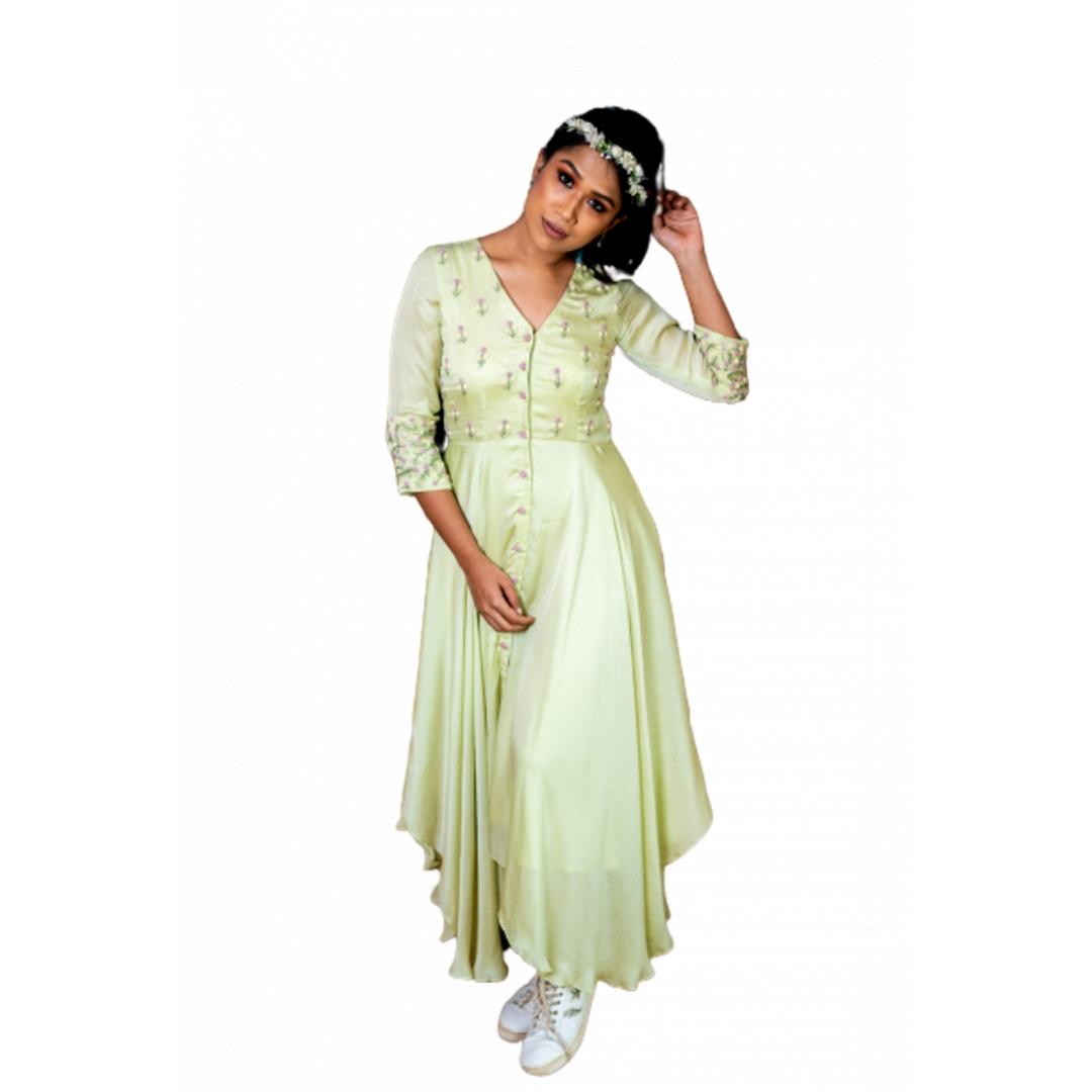 Asymmetrical Cut, V Neck Dress In Green