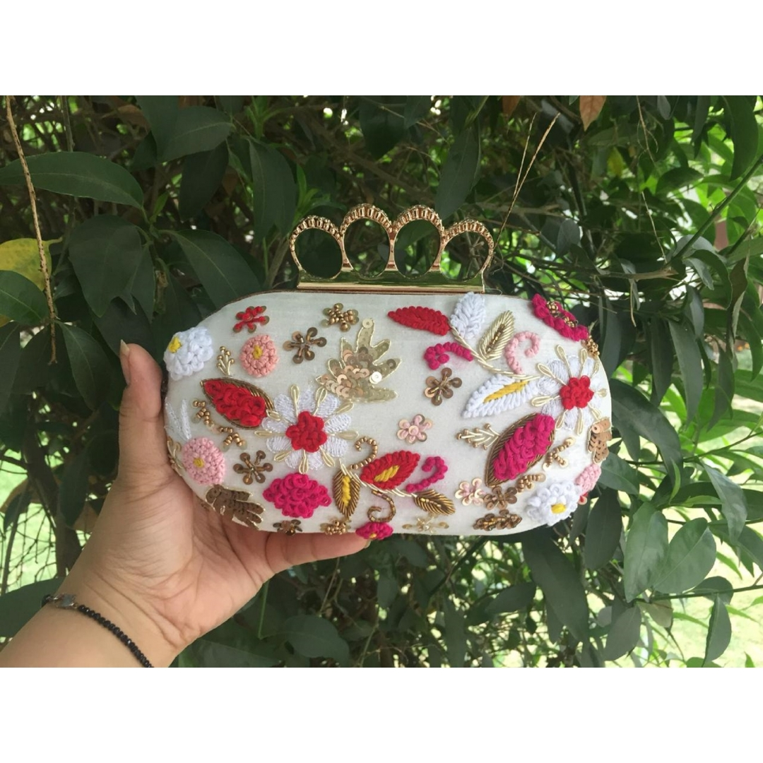 White Floral Ring Clutch