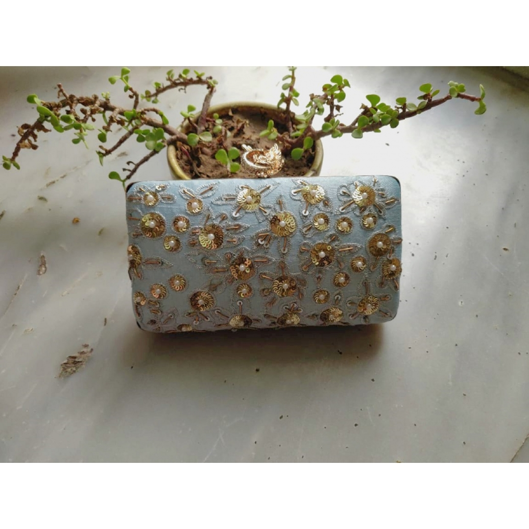 Powder Blue Floral Peacock Clutch