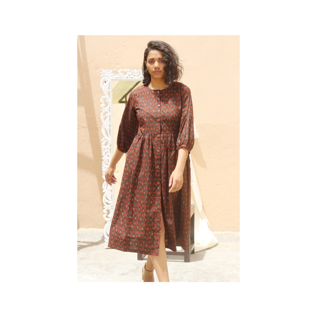 Button Up Dress Brown1
