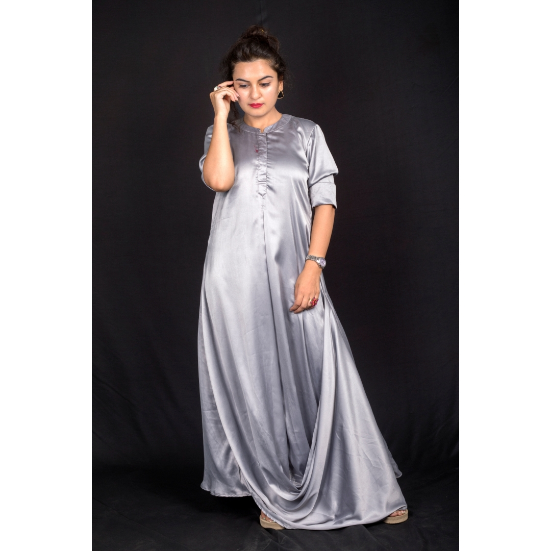 Grey front cowl dress