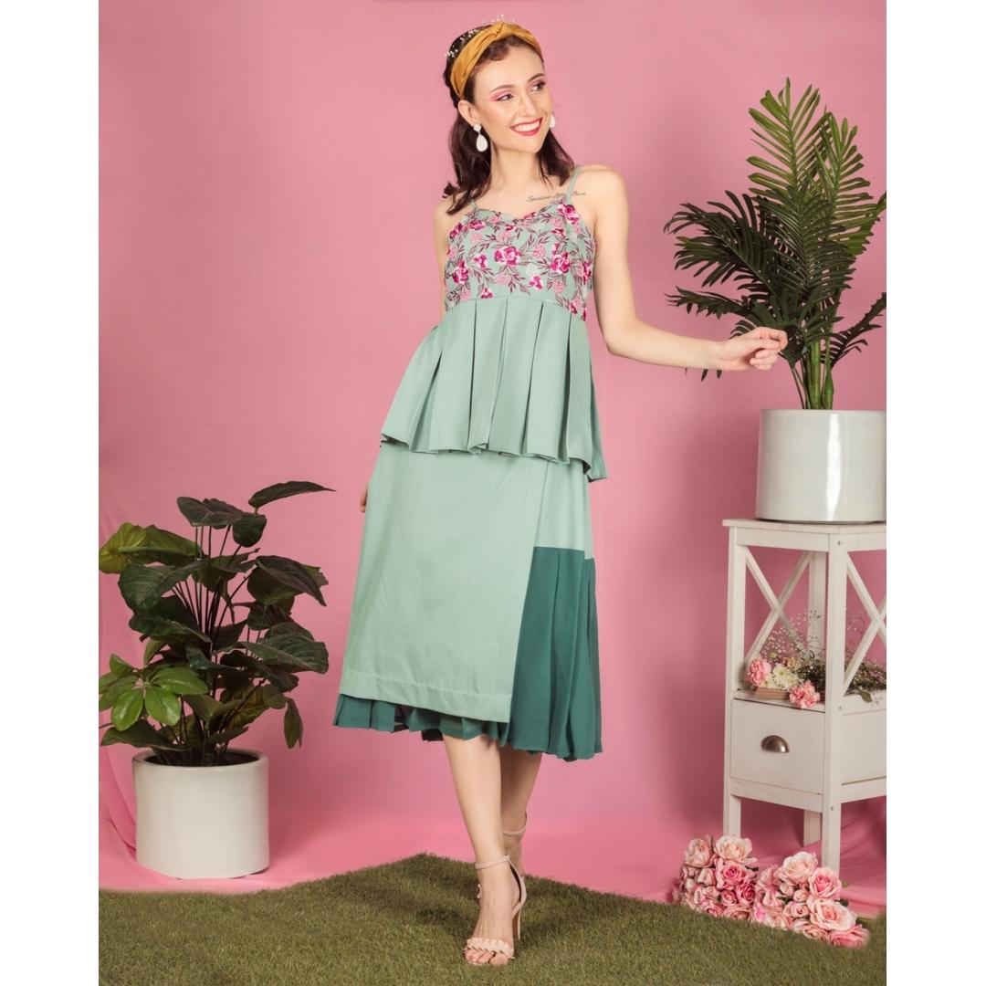 Misty green overlapped panelled skirt