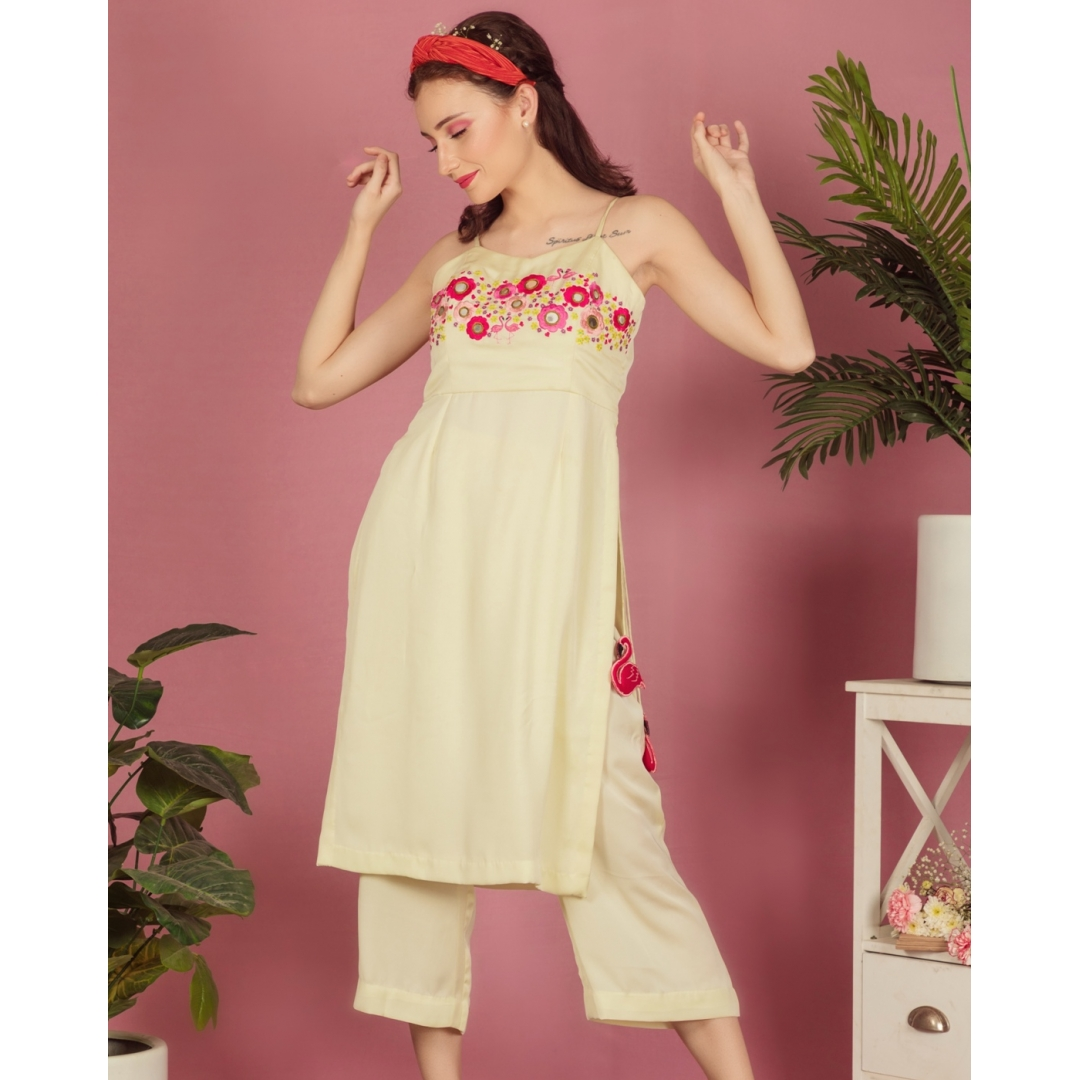 Flamingo garden straight tunic with pants (coord set)