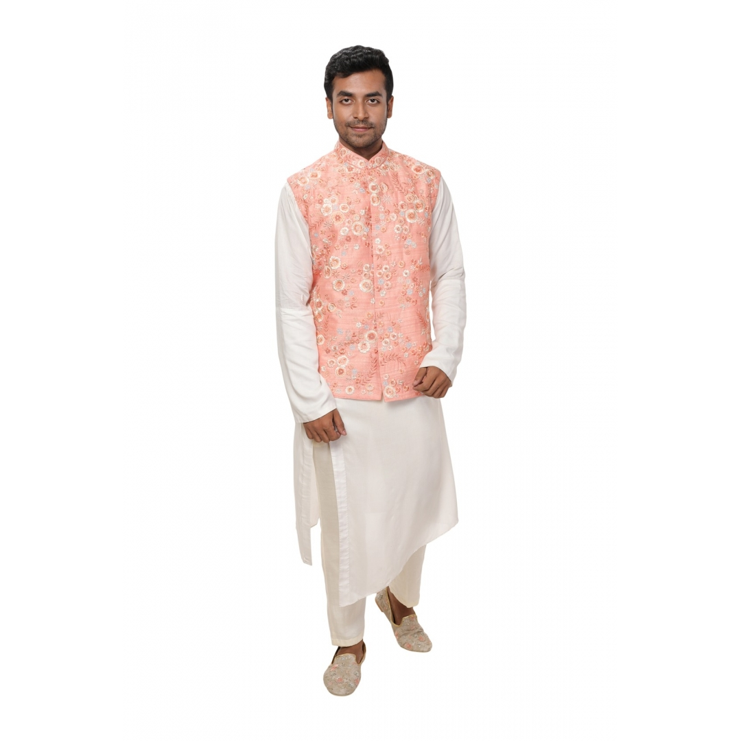 White Side Cut Kurta paired with a Peach Hand Embroidered Jacket