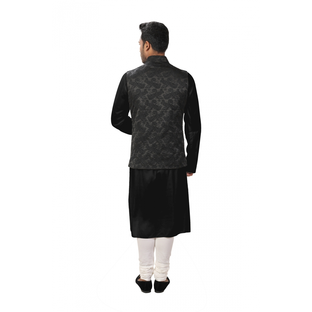 Black Front Slit Kurta Set paired with a Black Paisley Self Embroidered Asymmetrical Jacket