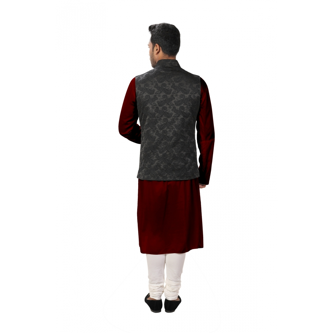 Maroon Front Slit Kurta Set paired with a Black Paisley Self Embroidered Asymmetrical Jacket