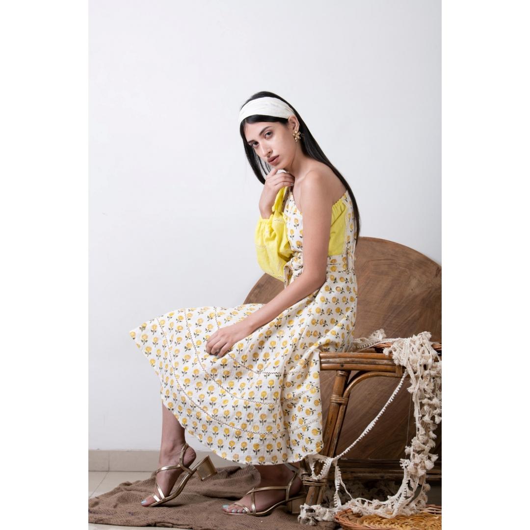 Hand Block Print Yellow One Shoulder Dress