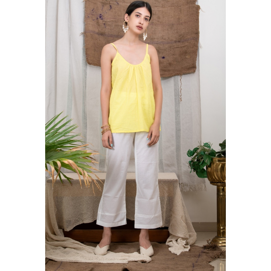 Yellow Slip Top With White Pants