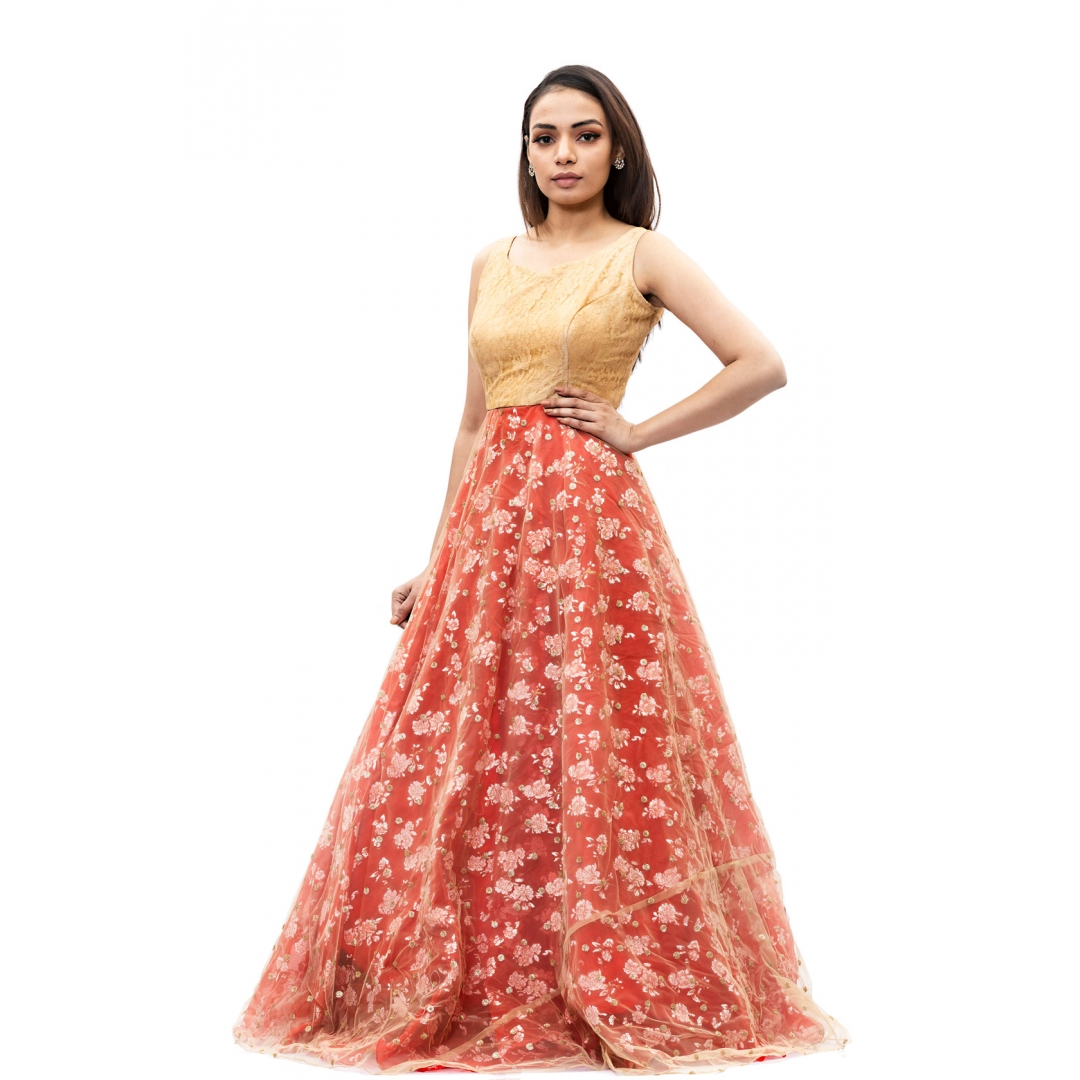 Red-floral-long-gown