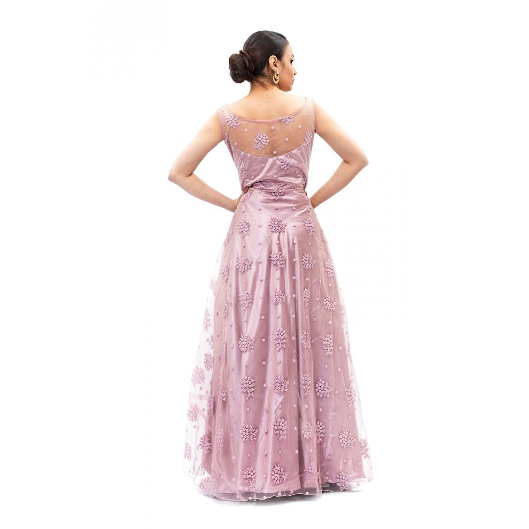Light-Wine-Net-Long-Gown