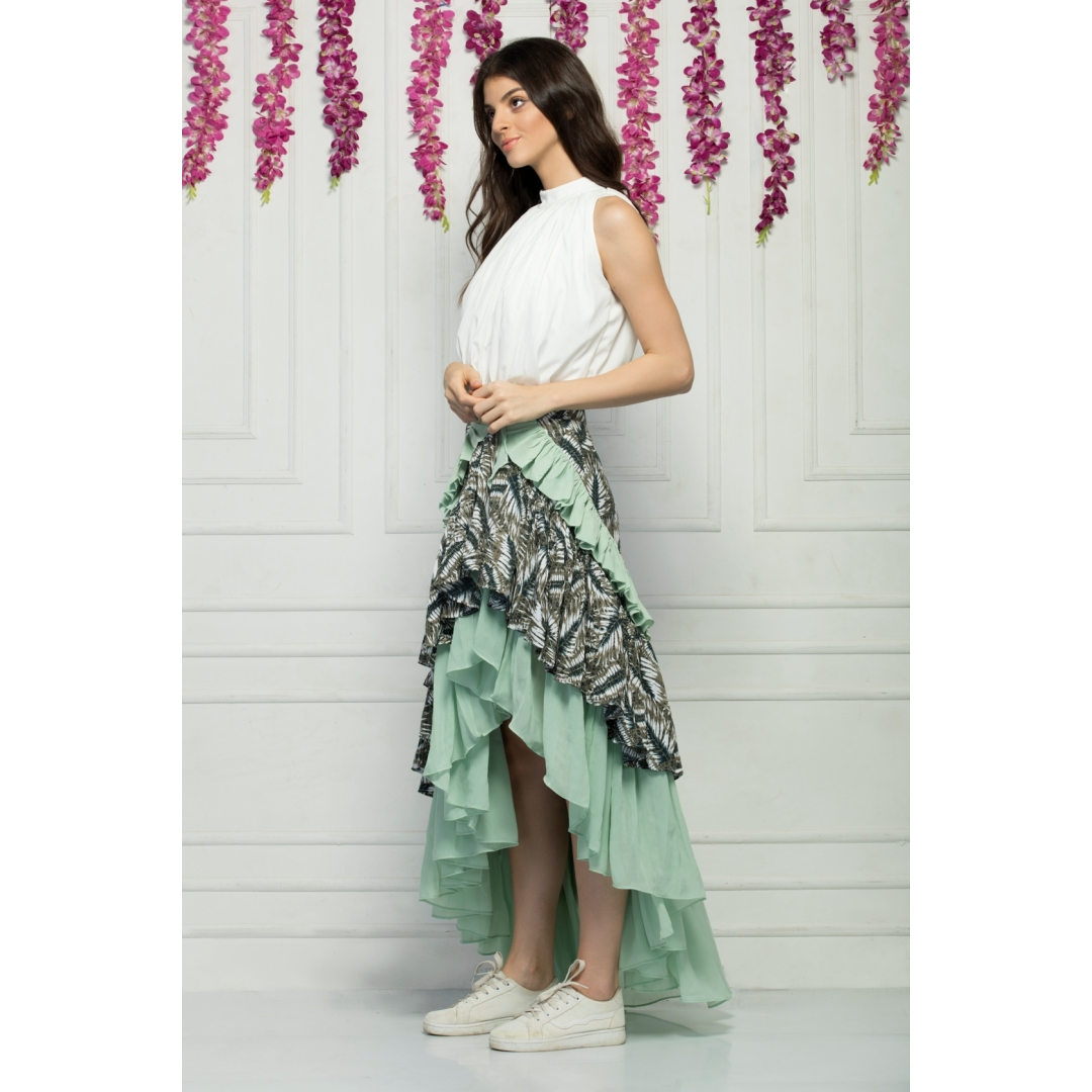 Halter neck top and ruffle detailed high low wrap around skirt