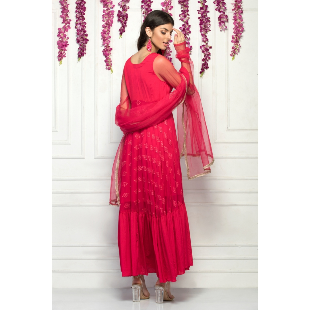 Anarkali suit with gather detail at the bottom