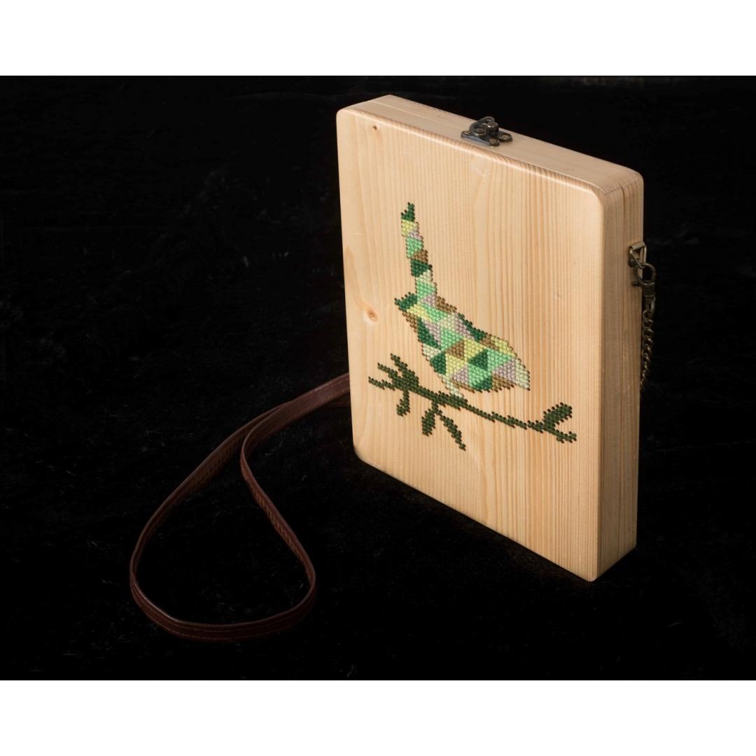 green sparrow cross stitch wooden clutch bag