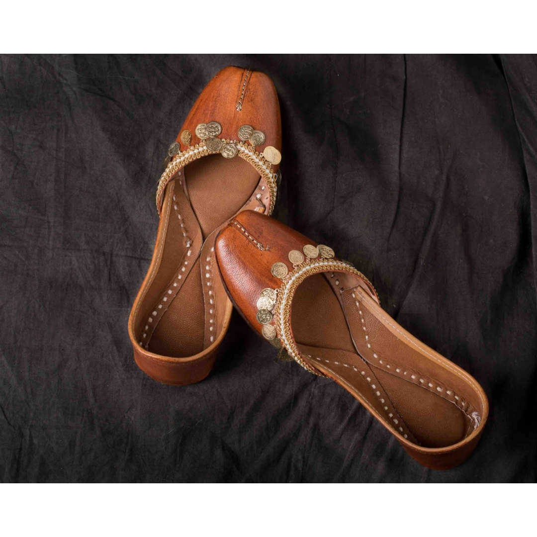 brown leather jutti with coin work