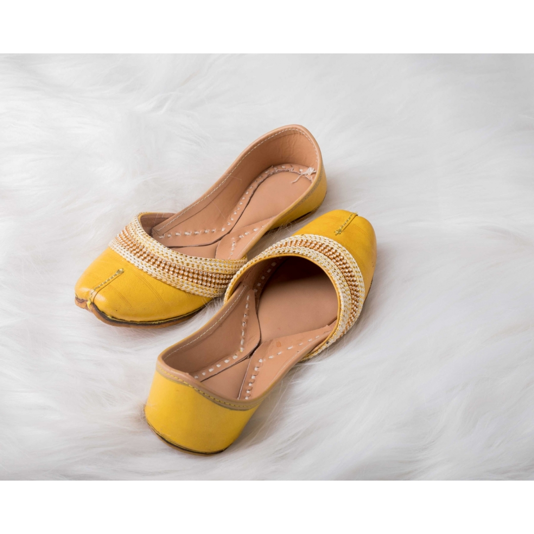 yellow leather jutti with Multi color lace