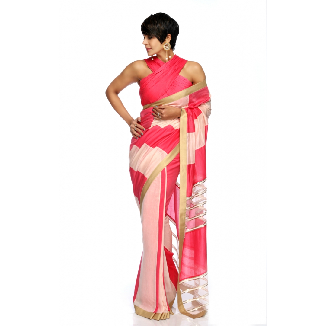 Light Pink & Rasberry Linen Sari