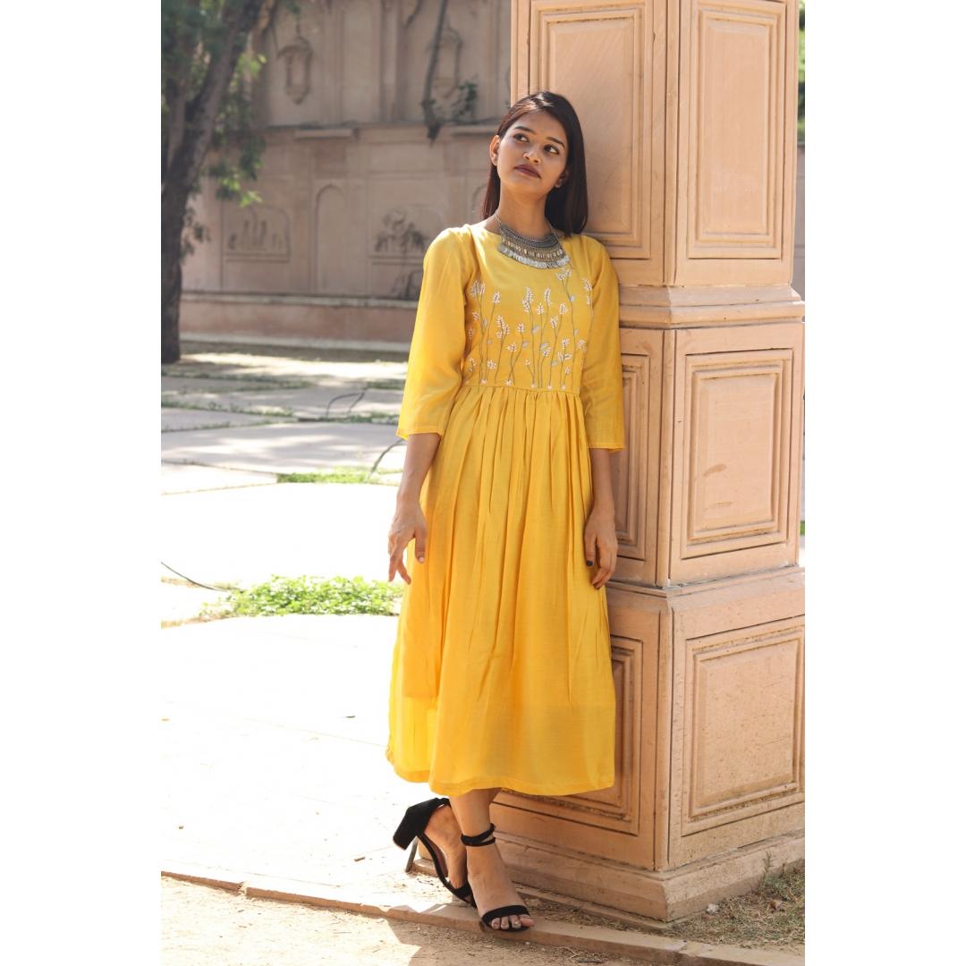 Muga Silk Ankle Length Dress