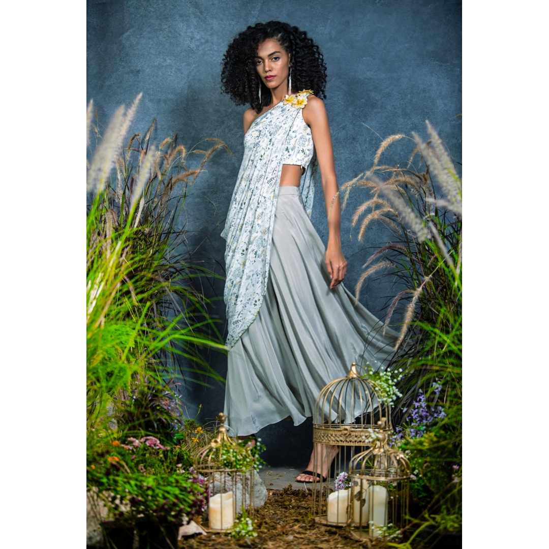 printed ones shoulder draped Crop-top paired with up flowy Palazzo